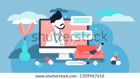 Virtual personal family doctor vector illustration. Flat tiny persons medical app concept. Virtual emergency health consultation. Professional help using biotech artificial intelligence for diagnose.