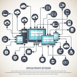 Virtual Private Network Background - with 24 icon set