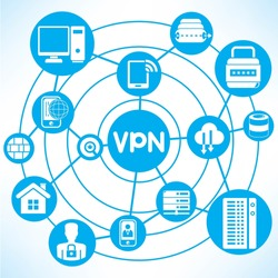 Virtual Private Network concept info graphic network with blue theme