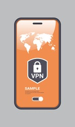 virtual private network cyber web security privacy concept secure vpn online connection personal data protection shield on smartphone screen vertical copy space vector illustration