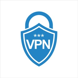 Virtual private network icon logo isolated. Shield with VPN design template, Vector illustration.