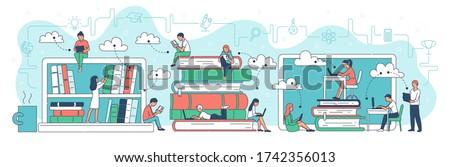 Virtual reading online library website banner template, cartoon vector illustration isolated on white background. People reading books against giant bookshelves.