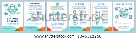 Virtual reality brochure template layout. VR games, apps, technology. Flyer, booklet, leaflet print design with linear icons. Vector page layouts for magazines, annual reports, advertising posters