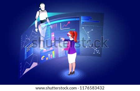 Virtual reality concept, girl analysis data or stats of a humanoid robot through VR glasses, responsive web template design.