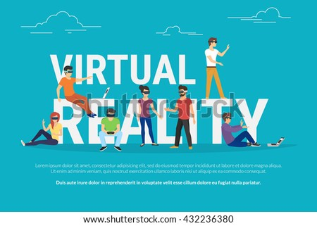 Virtual reality concept illustration of young various people wearing virtual reality helmet for playing game and vr simulation. Flat design of guys and women standing near big letters