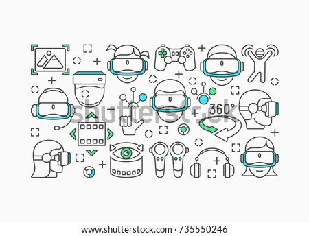 Virtual reality concept with black and blue linear icons, virtual helmet icon. Vector illustration.