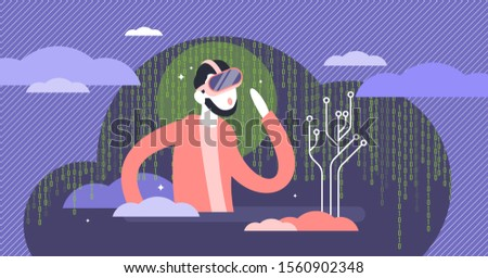 Virtual reality cyberspace experience flat tiny person vector illustration concept. Digital dimension sense illusion and simulated illusion. Wearable tech gaming console user playing experiences.