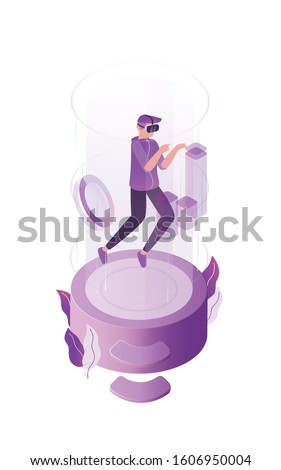 Virtual reality flat vector illustration. Online game, simulated world concept. Internet player, gamer with 3D glasses cartoon character. Virtual play space isolated on white background.