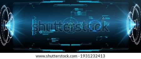 Virtual reality. Futuristic VR head-up display design. Futuristic Vector HUD Interface Screen Design.  HUD UI GUI futuristic user interface screen elements set. High tech screen for video game.