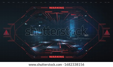 Virtual reality. Futuristic VR head-up display design. Sci-Fi helmet HUD, GUI,UI. Futuristic display data, statistics panel. Sci-Fi Helmet HUD. Future Technology Display Design. Control panel design