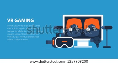 Virtual reality gaming illustration in modern flat style. VR helmet, motion sensors, stereo image on the monitor.