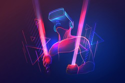 Virtual reality gaming. Man wearing vr headset and using light sword in abstract digital world with neon lines. Vector illustration