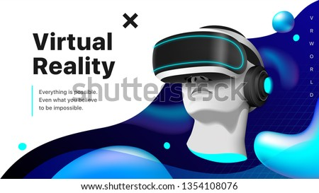 Virtual reality headset. A mannequin's head  wearing modern VR goggles in the space with liquid shapes. Realistic 3D vector illustration EPS10