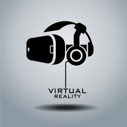 Virtual reality headset icon, flat design, vector,  icon, design, black & white, VR