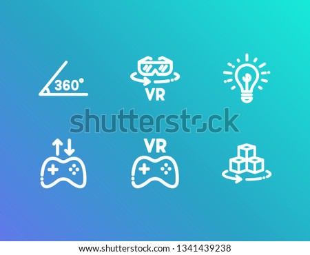 b705e261926 ... isolated on white background. Virtual reality icon set and 360 angle  with goggles vr