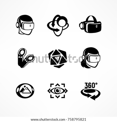 Virtual reality icon set in black isolated on white, vector illustration