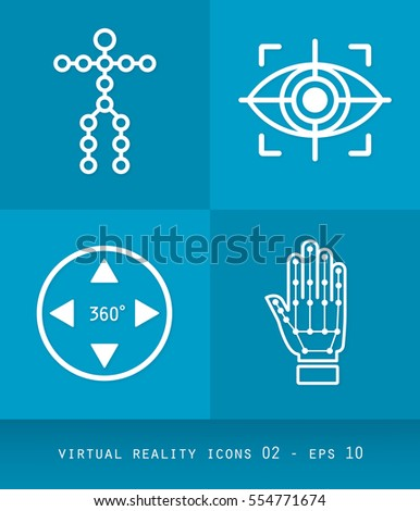 Virtual Reality Icons Series, Flat 2.0 Design - Simple Line Art with rotation,  circles, arrows and cubes smartphone, headsets, gloves