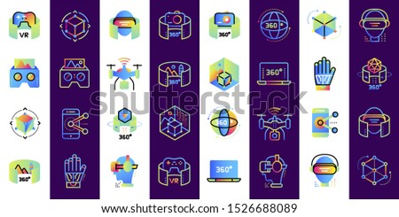 Virtual reality icons set. Technology Augmented Reality, mobile VR. Suitable for banners, mobile application, website, interfaces