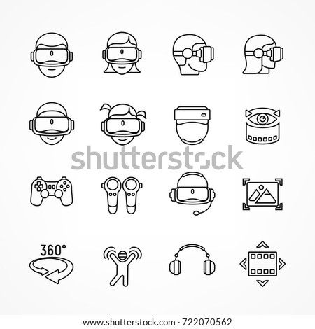 Virtual reality linear icon set isolated on white. Vector illustration.