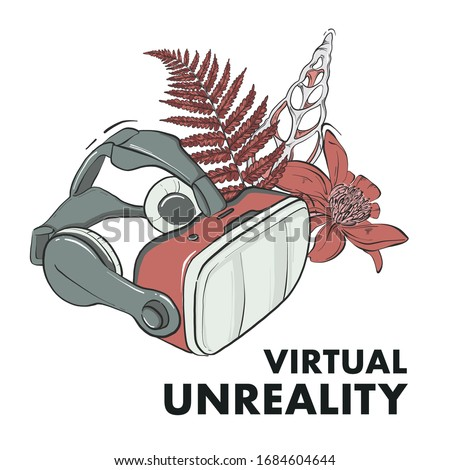 Virtual reality mask, game interacting eyewear wih floral bouquet and text virtual unreality. Vector