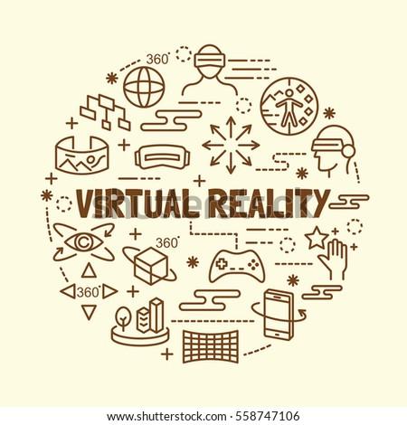 virtual reality minimal thin line icons set, vector illustration design elements