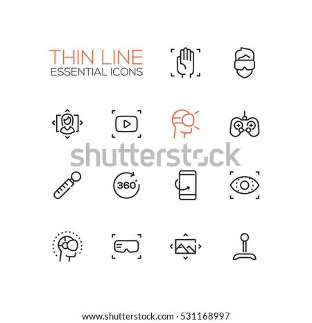 Virtual Reality - modern vector simple thin line design icons set.