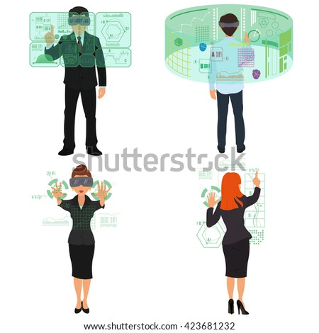 Virtual reality. New virtual technologies. Devices. Vector. man and woman working in a virtual office.