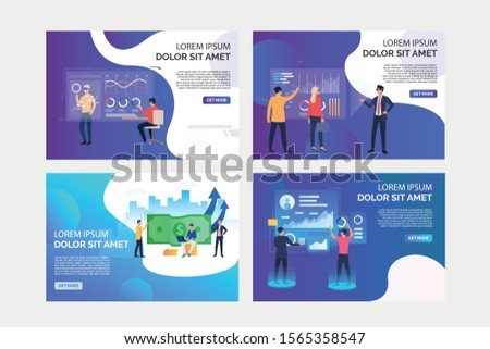 Virtual reality reports set. Businesspeople in VR headsets analyzing diagrams and money. Flat vector illustrations. Business, analysis concept for banner, website design or landing web page