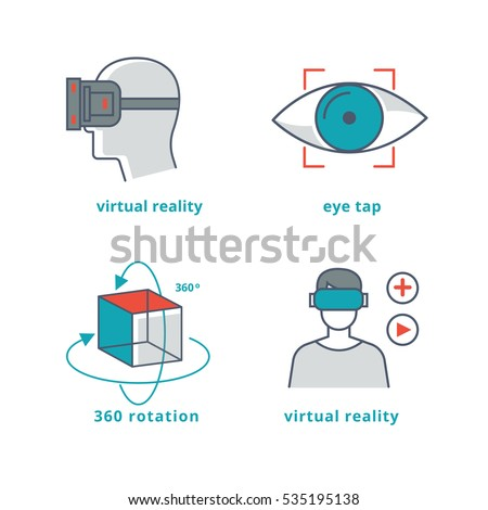 Virtual reality signs set for 3D games and 360 panorama video. Cyberspace and simulation virtual reality illustration
