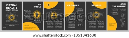 Virtual reality tech brochure template layout. VR entertainment and apps. Flyer, booklet, leaflet print design with linear illustrations. Vector page layouts for magazines, reports, advertising poster