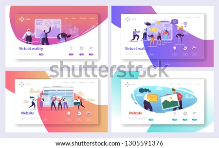 Virtual Reality Technology Landing Page Set. Augment Visual Game for Future Excited User Character. Fiction Cyberspace Experience Website or Web Page. Flat Cartoon Vector Illustration