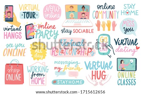 Virtual Relationships during CoronaVirus Covid-19 Quarantine, letterings - Online Party, online community, virtual dating and others. Vector illustration.