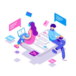 virtual relationships, online dating and social networking concept - teenagers chatting on the Internet. Vector 3d isometric illustration.