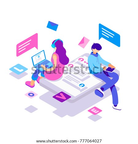 virtual relationships, online dating and social networking concept - teenagers chatting on the Internet. Vector 3d isometric illustration. - Shutterstock ID 777064027