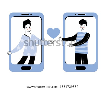 Virtual relationships, online Dating and social networking. The concept of LGBT. Romantic relationship between two men. Communication on the Internet. Love message via mobile app. Homosexual couple.