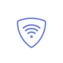 Virtual server vpn network line icon. Wifi private protect vector access safe logo shield protocol