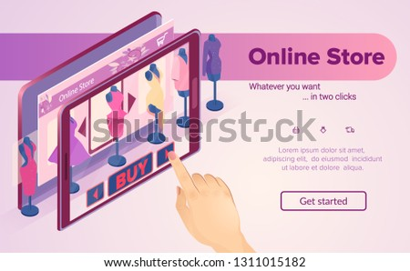 Virtual Shopping. Woman Buys Clothes Online. Hand Picks Dress in Showcase. E-Commerce. Buy with Mobile App. Internet Shop in Tablet. Online Store on Pink Background. Isometric Vector EPS 10.