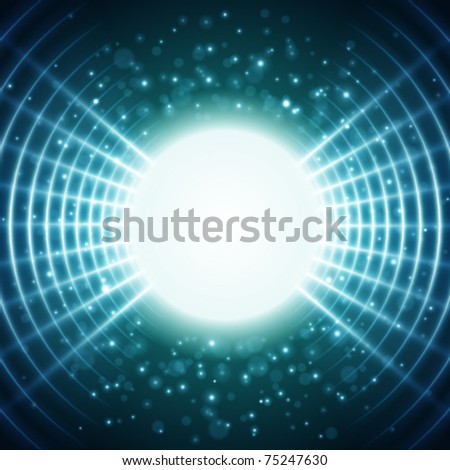 Virtual space with light wire lines vector background. Eps 10.