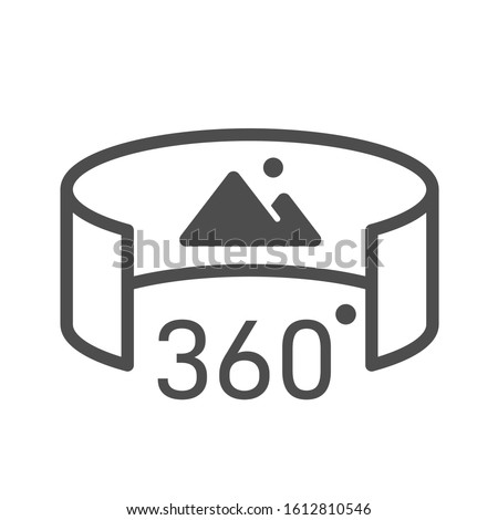 Virtual tour vector icon isolated on white background. VR and AR technology app for smartphones. Virtual reality futuristic technology concept. 360 panoramic view
