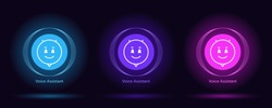 Virtual voice assistant, personal chat bot. Vector set of virtual bots for mobile interface and voice recognition. Artificial intelligence with voice command control, personal smart assistant