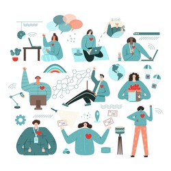 Virtual volunteer opportunities concept. Set places to charity online flat vector illustration. Global international community support people in need. Teamwork volunteering, support and aid for human