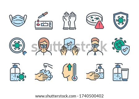 Virus and Coronavirus related color line icon set. Medical Mask and Covid Test colorful linear icons. Covid-19 Prevention flat color outline vector sign collection.