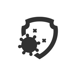 virus and shield. monochrome icon