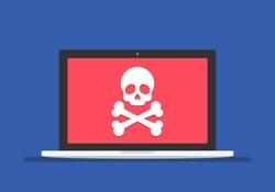 Virus attack - concept. Ransomware, malware, fraud, virus, spam, hacker attack. Laptop with skull and crossbones vector illustration