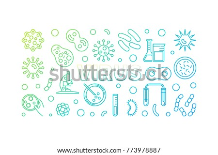 Virus colored horizontal linear illustration. Vector concept banner made with viruses and bacterias outline icons on white background