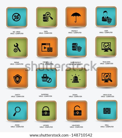 Virus computer and security icons,vector