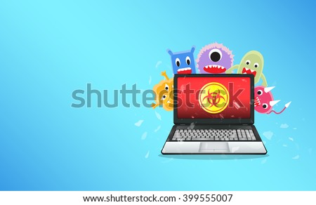 Virus computer destroying laptop