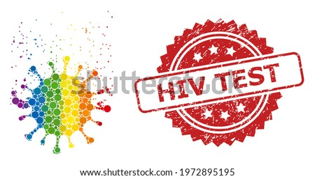 Virus dissipation collage icon of spheric dots in variable sizes and LGBT multicolored shades, and HIV Test rubber rosette stamp. A dotted LGBT-colored Virus dissipation for lesbians, gays, Stock photo ©