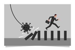 Virus effect concept. Coronavirus bacteria is pushing a piece of dominoes. Businessman runs away from falling effect. Human running forward. Vector illustration flat design.