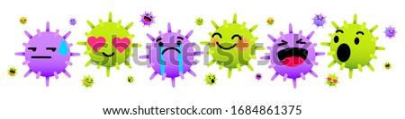 Virus emoticon, COVID-19 emoticon, bacteria emoticon, cancer emoticon in love, laugh, wow, excited, sad, cry emotion. PM2.5 vector. Virus vector and COVID-19 vector.